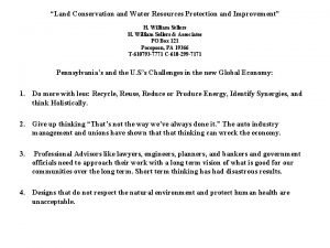 Land Conservation and Water Resources Protection and Improvement