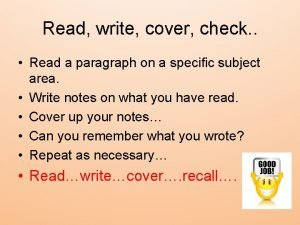 Read write cover check Read a paragraph on
