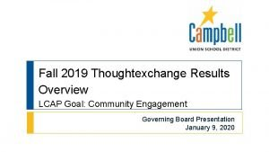 Fall 2019 Thoughtexchange Results Overview LCAP Goal Community
