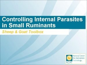 Controlling Internal Parasites in Small Ruminants Sheep Goat