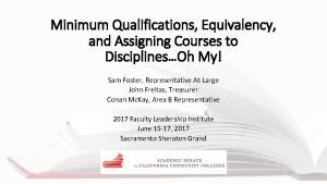 Minimum Qualifications Equivalency and Assigning Courses to DisciplinesOh