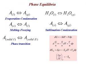 Phase Equilibria EvaporationCondensation MeltingFreezing Phase transition SublimationCondensation Sg
