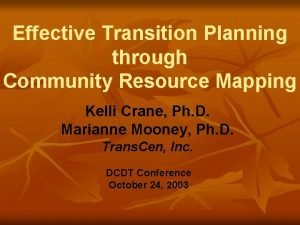 Effective Transition Planning through Community Resource Mapping Kelli