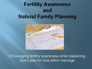Fertility Awareness and Natural Family Planning Encouraging fertility