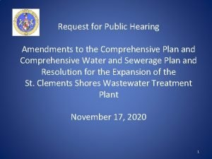 Request for Public Hearing Amendments to the Comprehensive