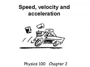 Speed velocity and acceleration Physics 100 Chapter 2
