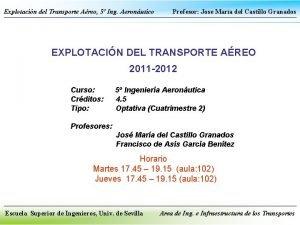 Explotacin del Transporte Areo 5 Ing Aeronutico Profesor
