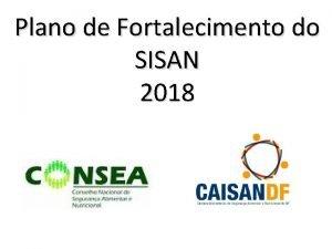 Plano de Fortalecimento do SISAN 2018 PLANO DE