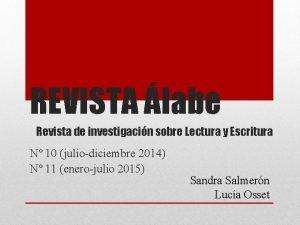 REVISTA labe Revista de investigacin sobre Lectura y