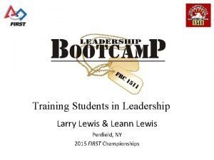 Training Students in Leadership Larry Lewis Leann Lewis