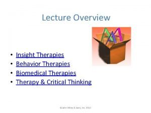 Lecture Overview Insight Therapies Behavior Therapies Biomedical Therapies