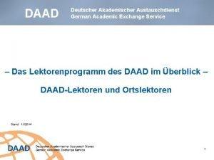 DAAD Deutscher Akademischer Austauschdienst German Academic Exchange Service
