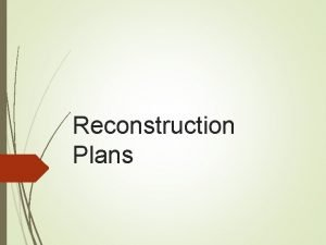 Reconstruction Plans Terms Reconstruction The period after the