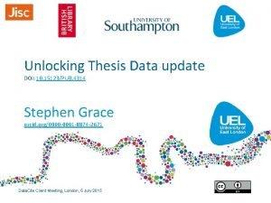 Unlocking Thesis Data update DOI 10 15123PUB 4314