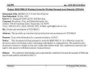 Aug 2001 doc IEEE 802 15 01384 r