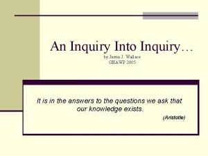 An Inquiry Into Inquiry by Justin J Wallace