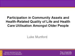 Participation in Community Assets and HealthRelated Quality of