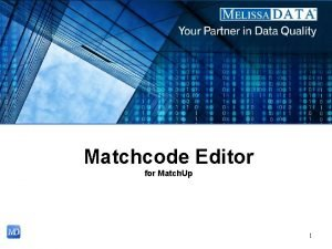 Matchcode Editor for Match Up 1 Introduction Match