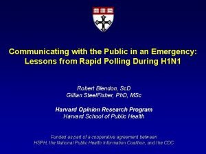 Communicating with the Public in an Emergency Lessons