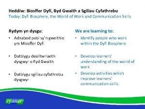 Heddiw Biosffer Dyfi Byd Gwaith a Sgiliau Cyfathrebu