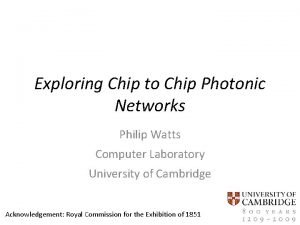 Exploring Chip to Chip Photonic Networks Philip Watts