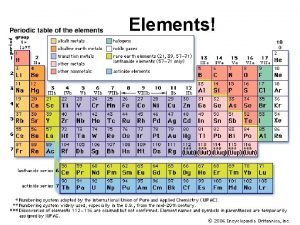 Elements Elements A pure element is made of