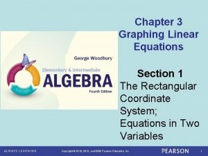 Chapter 3 Graphing Linear Equations Section 1 The