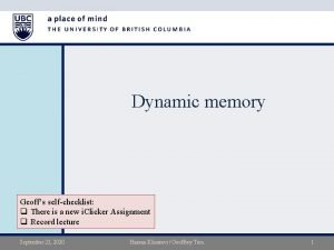 Dynamic memory Geoffs selfchecklist q There is a