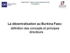 Projet PAGOF Appui aux Gouvernements Ouverts Francophones La