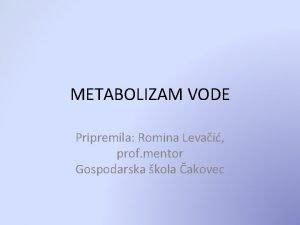 METABOLIZAM VODE Pripremila Romina Levai prof mentor Gospodarska
