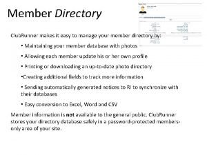 Member Directory Club Runner makes it easy to