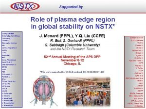 NSTX Supported by Role of plasma edge region