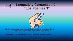 Lenguaje y Comunicacin Los Poemas 3 Objetivo Leer