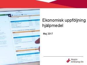Ekonomisk uppfljning hjlpmedel Maj 2017 Bakgrund De hr