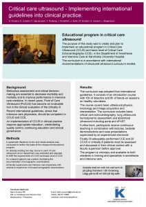 Critical care ultrasound Implementing international guidelines into clinical