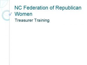 NC Federation of Republican Women Treasurer Training Treasurer