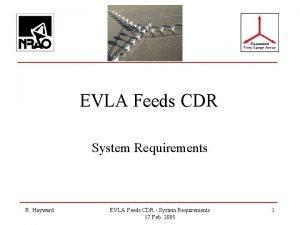 EVLA Feeds CDR System Requirements R Hayward EVLA