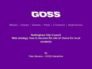 Nottingham City Council Web strategy how to become