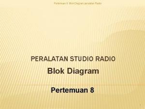 Pertemuan 8 Blok Diagram peralatan Radio PERALATAN STUDIO