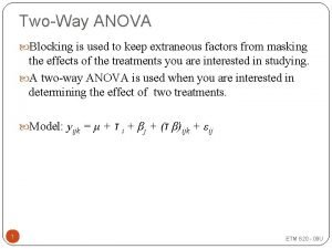 TwoWay ANOVA Blocking is used to keep extraneous