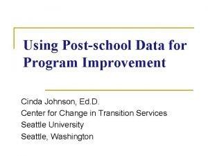 Using Postschool Data for Program Improvement Cinda Johnson