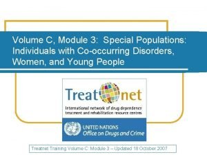 Volume C Module 3 Special Populations Individuals with