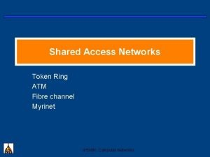 Shared Access Networks Token Ring ATM Fibre channel