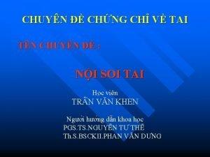 CHUYN CHNG CH V TAI TN CHUYN NI