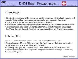 DHMBasel Feststellungen 1 Ausgangslage Die Injektion von Wasser