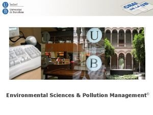 Environmental Sciences Pollution Management Environmental Sciences Pollution Management
