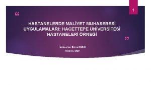 1 HASTANELERDE MALYET MUHASEBES UYGULAMALARI HACETTEPE NVERSTES HASTANELER