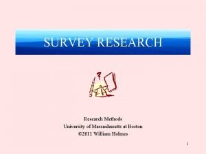 SURVEY RESEARCH Research Methods University of Massachusetts at
