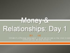 Money Relationships Day 1 Identify differences among peoples
