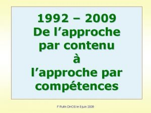 1992 2009 De lapproche par contenu lapproche par
